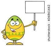 colored easter egg cartoon... | Shutterstock .eps vector #606861662