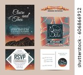 wedding invitation with rsvp... | Shutterstock .eps vector #606866912