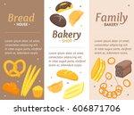 cartoon color bakery banner... | Shutterstock .eps vector #606871706