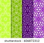 set of 4 flower pattern.... | Shutterstock .eps vector #606872312