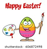 happy colored easter egg... | Shutterstock . vector #606872498