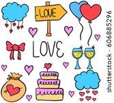 doodle of wedding element style ... | Shutterstock .eps vector #606885296