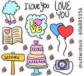 doodle of wedding object... | Shutterstock .eps vector #606885356