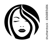 woman model hair face icon | Shutterstock .eps vector #606885686