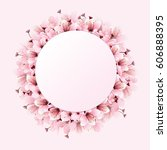 circle of cherry blossoms ... | Shutterstock .eps vector #606888395