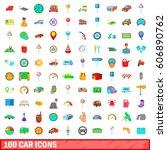 100 car icons set in cartoon... | Shutterstock .eps vector #606890762