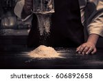 the chef hands are dropping... | Shutterstock . vector #606892658