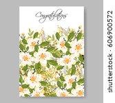 floral wedding invitation... | Shutterstock .eps vector #606900572
