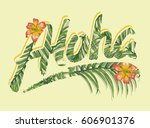 tropical flowers graphic.... | Shutterstock .eps vector #606901376