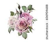 bouquet of flowers  watercolor  ... | Shutterstock . vector #606904688