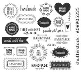 hand made labels. vector. hand... | Shutterstock .eps vector #606905225