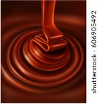 chocolate swirl background and... | Shutterstock .eps vector #606905492