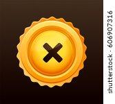 golden cross medal. cross sign... | Shutterstock .eps vector #606907316