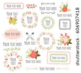 hand drawn floral elements.... | Shutterstock .eps vector #606907418