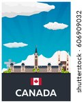 travel to canada. america.... | Shutterstock .eps vector #606909032