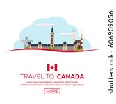 travel to canada. america.... | Shutterstock .eps vector #606909056