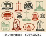 famous monuments and landmarks... | Shutterstock .eps vector #606910262