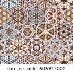 a rich set of hexagonal ceramic ... | Shutterstock .eps vector #606912002