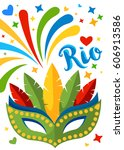 mardi gras mask   brazil rio... | Shutterstock .eps vector #606913586
