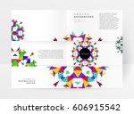 memphis geometric background... | Shutterstock .eps vector #606915542