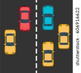 highway traffic concept with... | Shutterstock .eps vector #606916622