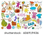 be creative with kids. doodle... | Shutterstock .eps vector #606919436