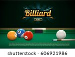 billiard table front view balls ... | Shutterstock .eps vector #606921986