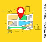 map with marker and different... | Shutterstock . vector #606922106