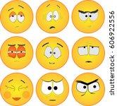 emoji vetor smiles icons set. | Shutterstock .eps vector #606922556