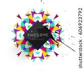 memphis geometric background... | Shutterstock .eps vector #606923792