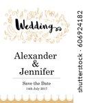 hand drawn wedding card template | Shutterstock .eps vector #606924182