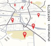 vector flat abstract city map... | Shutterstock .eps vector #606930776