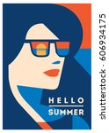 summer holiday and summer camp... | Shutterstock .eps vector #606934175