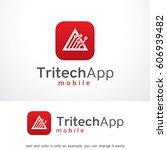 triangle tech app logo template ... | Shutterstock .eps vector #606939482