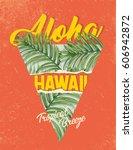 tropical summer design. exotic ... | Shutterstock .eps vector #606942872
