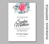 red rose wedding invitation... | Shutterstock .eps vector #606944516