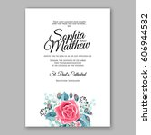 red rose wedding invitation... | Shutterstock .eps vector #606944582