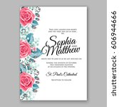 red rose wedding invitation... | Shutterstock .eps vector #606944666