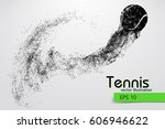 silhouette of a tennis ball.... | Shutterstock .eps vector #606946622