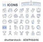 set vector line icons  sign and ... | Shutterstock .eps vector #606946646