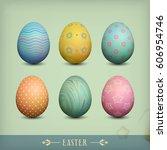 set of vintage easter eggs....   Shutterstock .eps vector #606954746