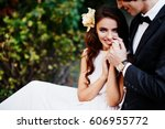 lovely bride with long curly...   Shutterstock . vector #606955772