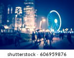 blue tone bokeh city night | Shutterstock . vector #606959876