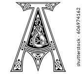 ornate letter a celtic knot... | Shutterstock .eps vector #606974162