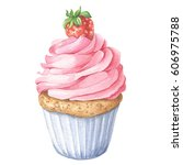 watercolor strawberry cupcake ... | Shutterstock . vector #606975788