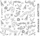 hand drawn party symbols.... | Shutterstock .eps vector #606977228