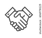 handshake thin line vector icon....   Shutterstock .eps vector #606978125