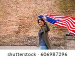 young happy girl running and... | Shutterstock . vector #606987296