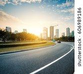 asphalt pavement urban road at... | Shutterstock . vector #606989186
