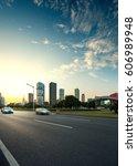 asphalt pavement urban road at... | Shutterstock . vector #606989948